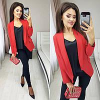 Пиджак женский, повседневный, офисный, стильный, отложной воротник, модный, до 52 размера