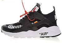 Женские кроссовки Nike Air Huarache x Off-White Black White (найк хуарачи x офф вайт, черные/белые)