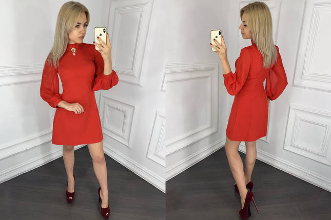 """Короткое нарядное платье """"DAREN"""" с брошкой и шифоновыми рукавами (2 цвета), фото 2"""