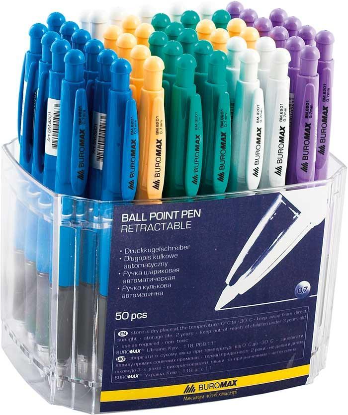 Ручка шариковая автоматическая, прозрачный корпус, 0,7 мм. 50шт., BM.8201