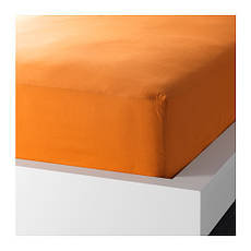 ДВАЛА Простыня натяжная, оранжевый, 160х200, 30289622, IKEA, ИКЕА, DVALA, фото 2