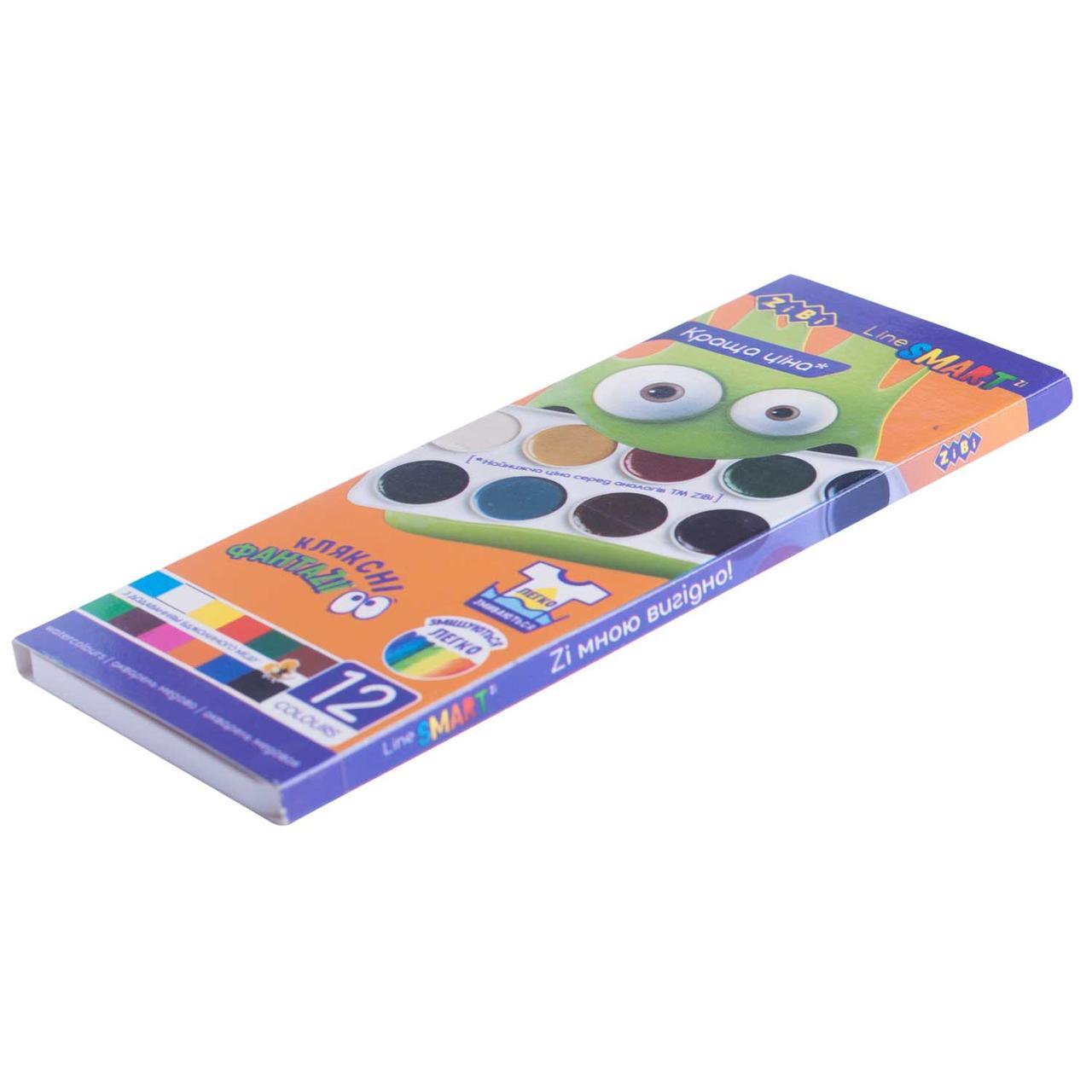 Краски акварельные, Smart 12 цветов, без кисточки, ZB.6541
