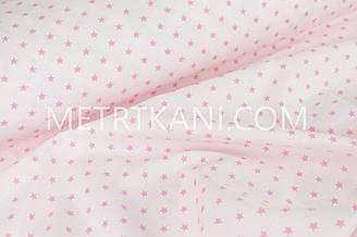 Хлопковая ткань с малиновыми звездами 10 мм на светло-розовом фоне 1618
