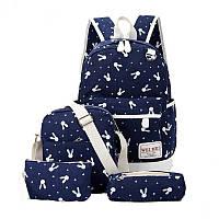 Рюкзак набор для девочки 4 предмета (сумка, клатч, пенал)с зайкой помпоном.