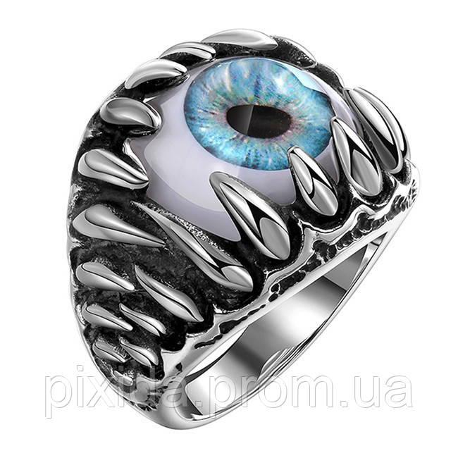 Кольцо нержавеющая сталь Око синий