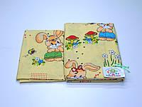 Детский байковый (фланель) постельный комплект  (желтый с зайкой)