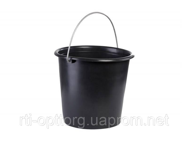 Ведро пластмассовое садово-огородное 10 л (чёрное)