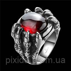 Кольцо нержавеющая сталь бордовый когти