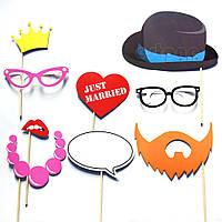 Фотобутафория Рыжая борода усы и губы на палочках для фотосессии