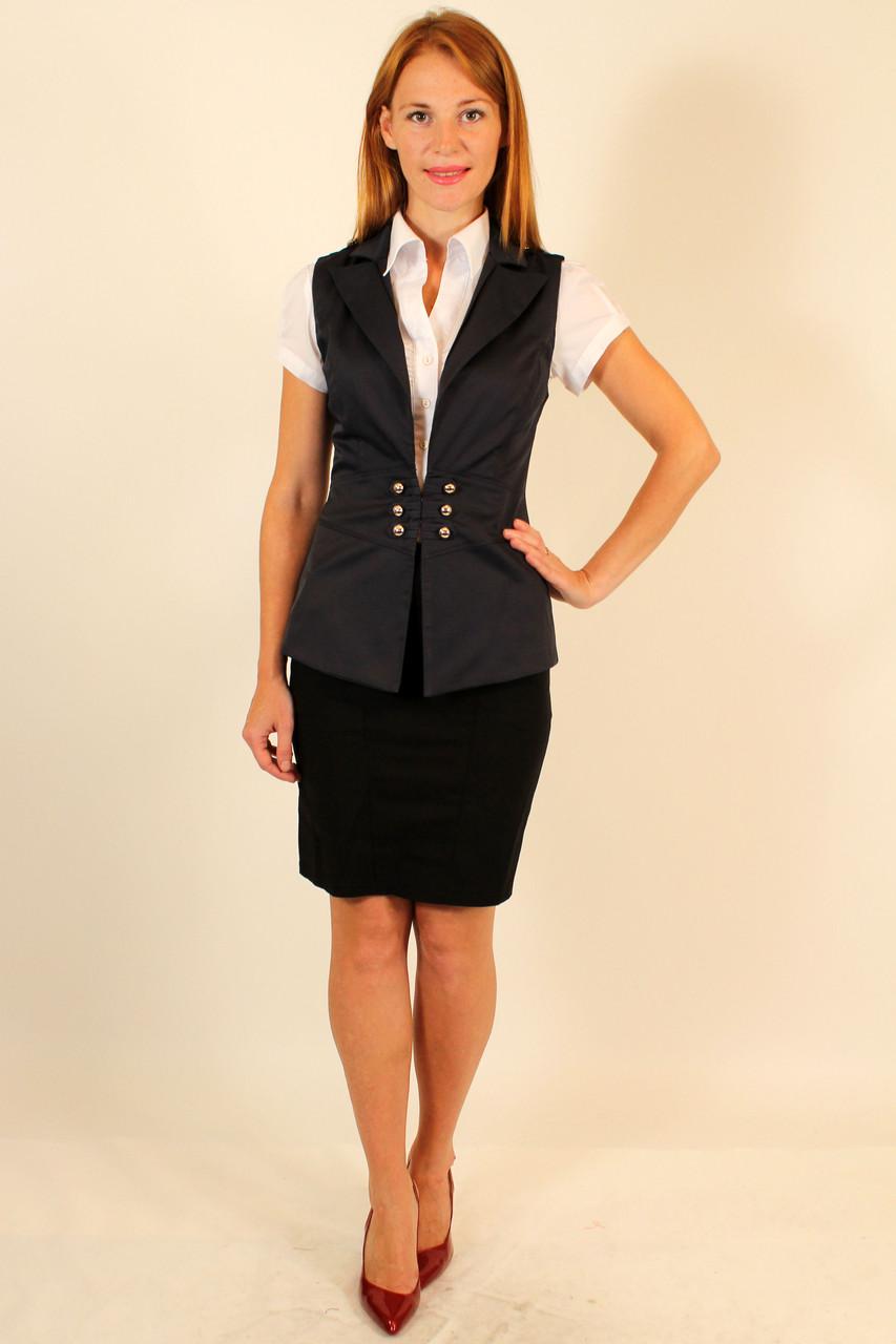 Пиджак без рукавов 42-48 р ( черный, синий )