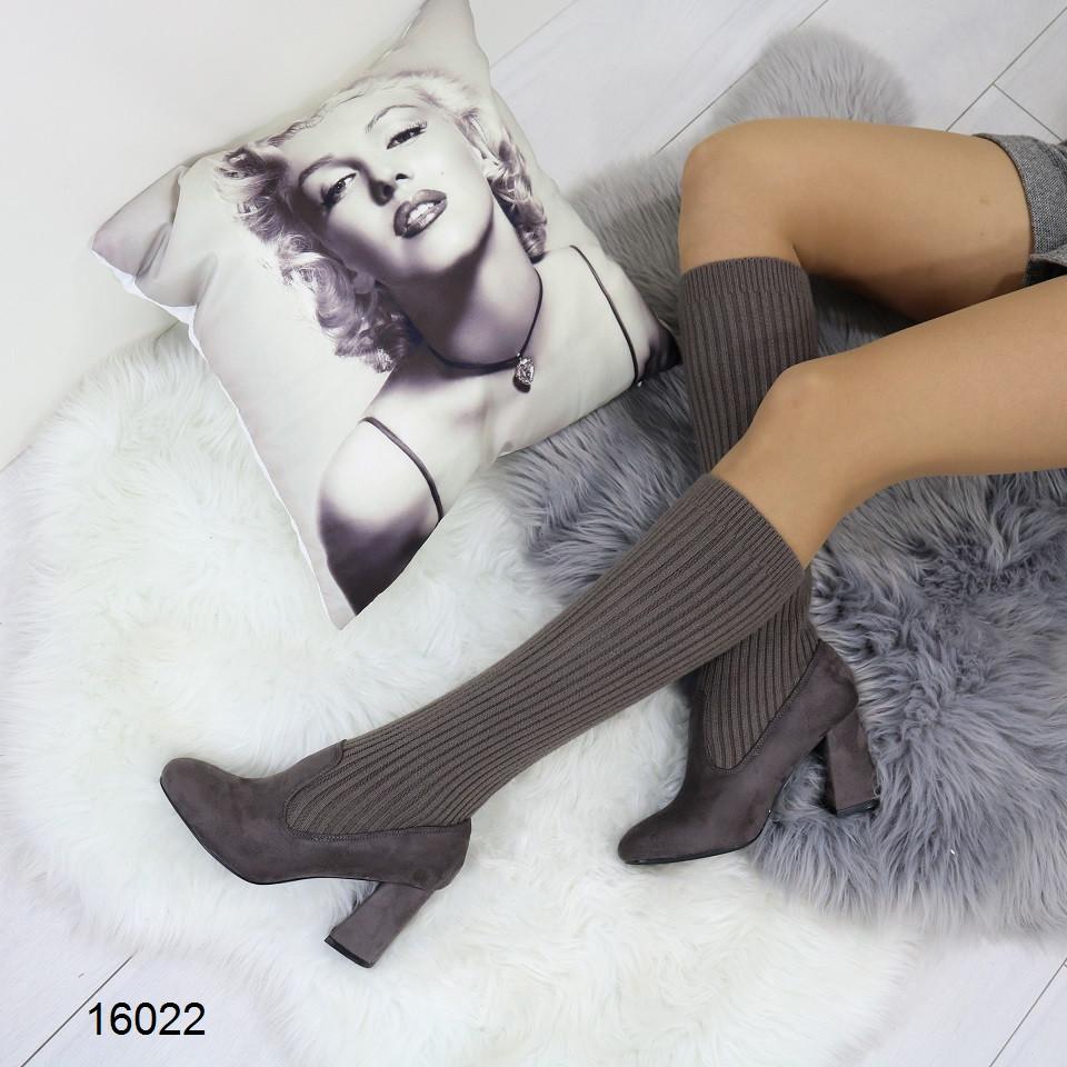 Женские сапоги-чулки серого цвета, эко замша +текстиль чулок