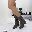 Женские сапоги-чулки серого цвета, эко замша +текстиль чулок, фото 2