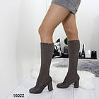 Женские сапоги-чулки серого цвета, эко замша +текстиль чулок, фото 3