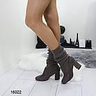 Женские сапоги-чулки серого цвета, эко замша +текстиль чулок, фото 5