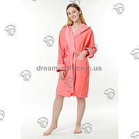Вафельный женский халат 50-54 короткий капюшон Massimo Monelli коралл