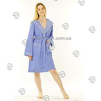 Вафельный женский халат 50-54 короткий капюшон Massimo Monelli голубой