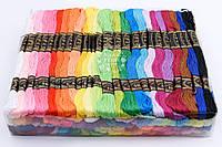 Нитки для вышивания мулине, разные цвета, набор 100 штук