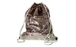 Сумка для обуви с паетками, материал ПУ, паетки 42*32см золотистое пу+паетки розовое золото+золото