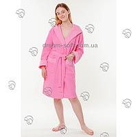 Вафельный женский халат 50-54 короткий капюшон Massimo Monelli розовый