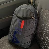 Рюкзак в стиле FILA мужской / женский городской школьный темно-серый, фото 1