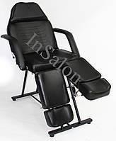 Кушетка педикюрная стационарная CH-240 черная + стульчик мастера педикюра 425L черный