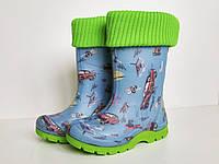 Резиновые сапоги детские с утеплителем силиконовые (зеленые)