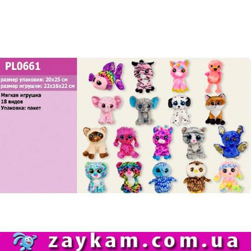 Мягкая игрушка PL0661 глазастики, микс видов, 15 см, в пакете