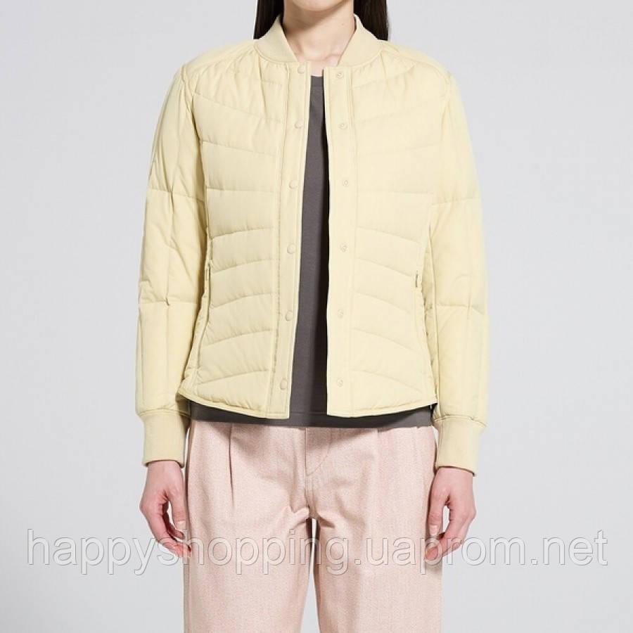 Женская желтая легкая куртка на пуху Uniqlo