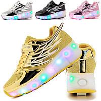 Роликовые кроссовки в стиле Heelys с LED подошвой. Детские и Подростковые (30-40 размеры). Премиум качество.