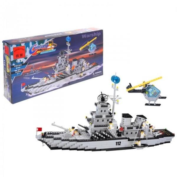 Конструктор Brick 112 «Военный корабль» 970 дет.