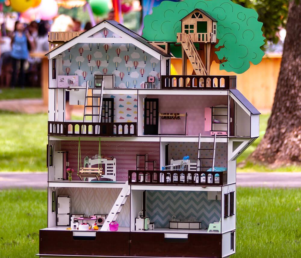 Кукольный домик NestWood Дом приключений для кукол ЛОЛ + мебель 9 ед (kdl005)