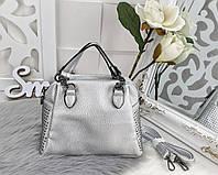 Женская сумка-клатч в цвете серебро, эко кожа