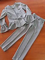 Костюм пиджак и брюки для девочек 5-12лет, школьная форма 2019, фото 1