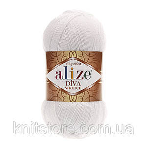 Пряжа Alize Diva Stretch Белый