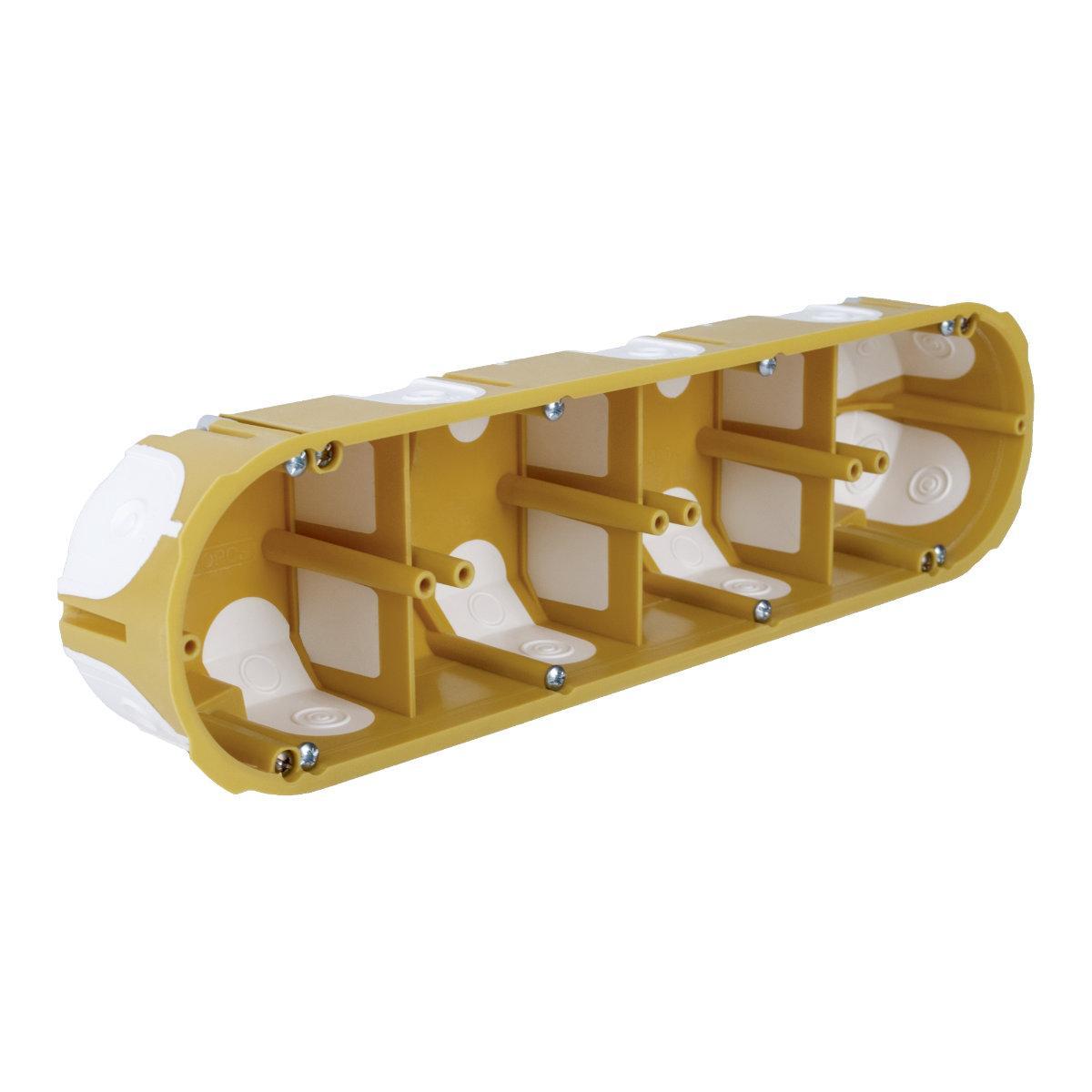 Коробка приладова, чотирьохкратна з еластичними вводами ПВХ; Жовта; 280х68х50мм