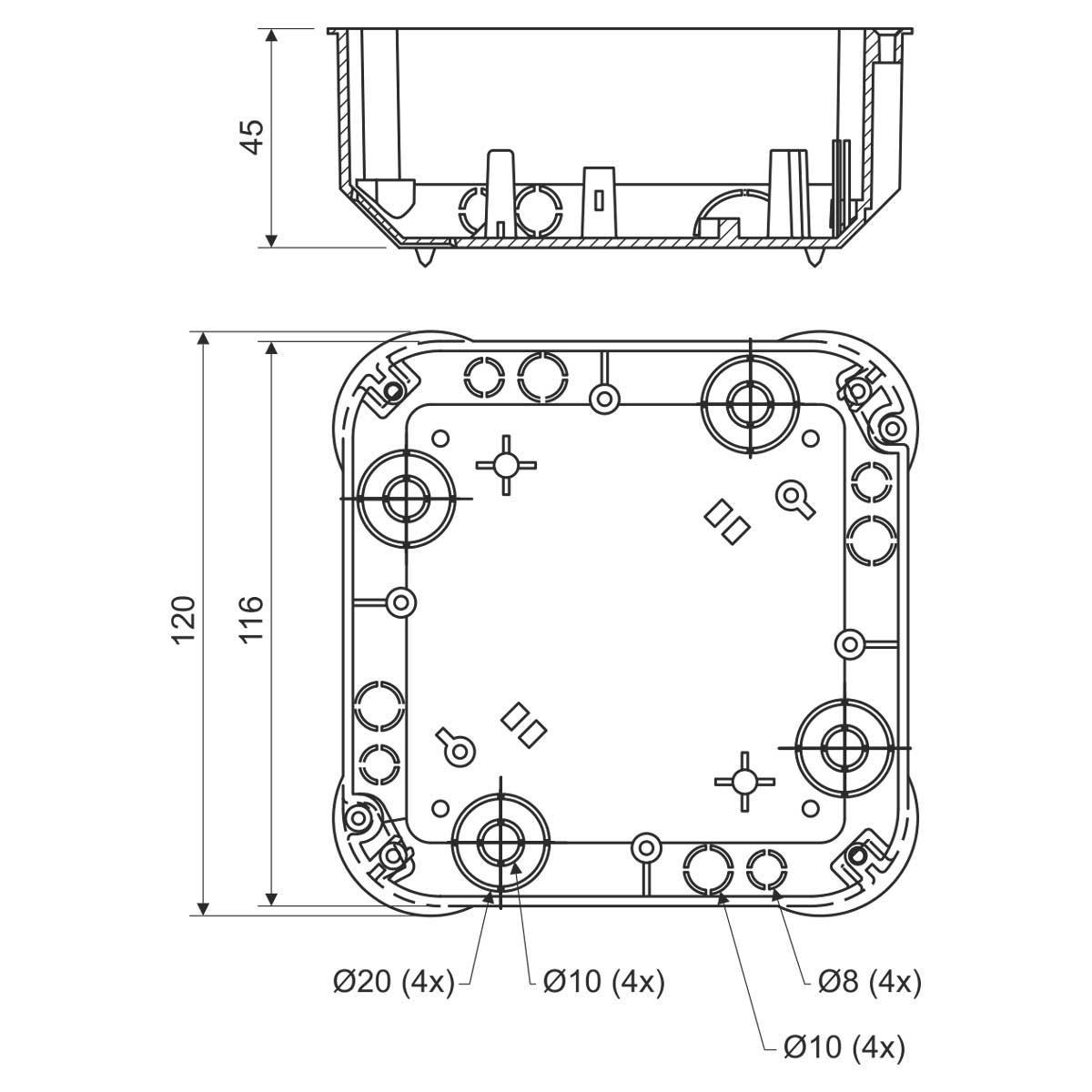 KO 110/L_NA Коробка розподільна з кришкою V 110 L та перегородкою P 110 L