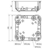Коробка розподільча в пустотілі стіни; з кришкою; ПВХ; жовта; 115х115х45мм