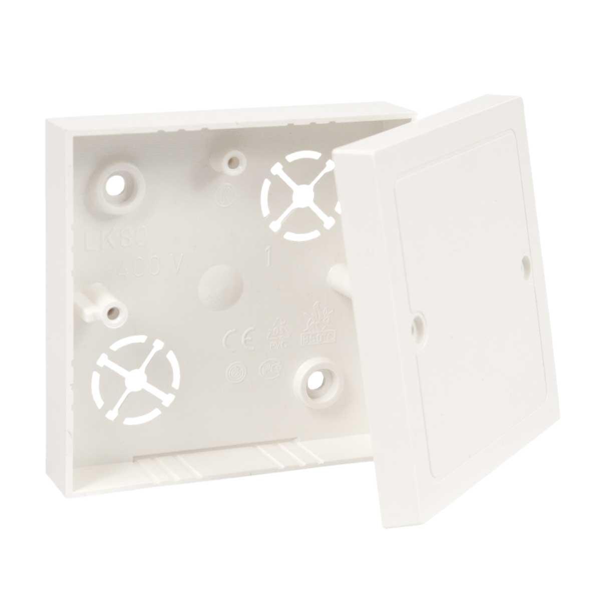 Коробка приладова з кришкою ПВХ; розміри 82х82х16мм