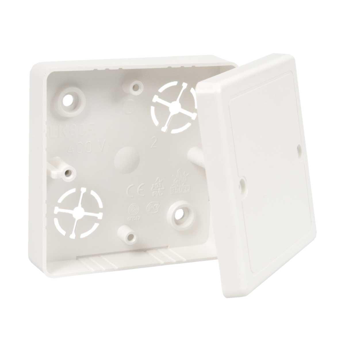 Коробка приладова з кришкою ПВХ; розміри 81х81х16мм