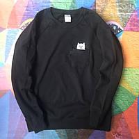 Свитшот без капюшона черный модный мужской молодежный Кот в кармане RipNDip РипНДип
