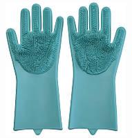 🔝 Перчатки силиконовые хозяйственные для мытья посуды и уборки Magic Silicone Gloves, Голубые | 🎁%🚚