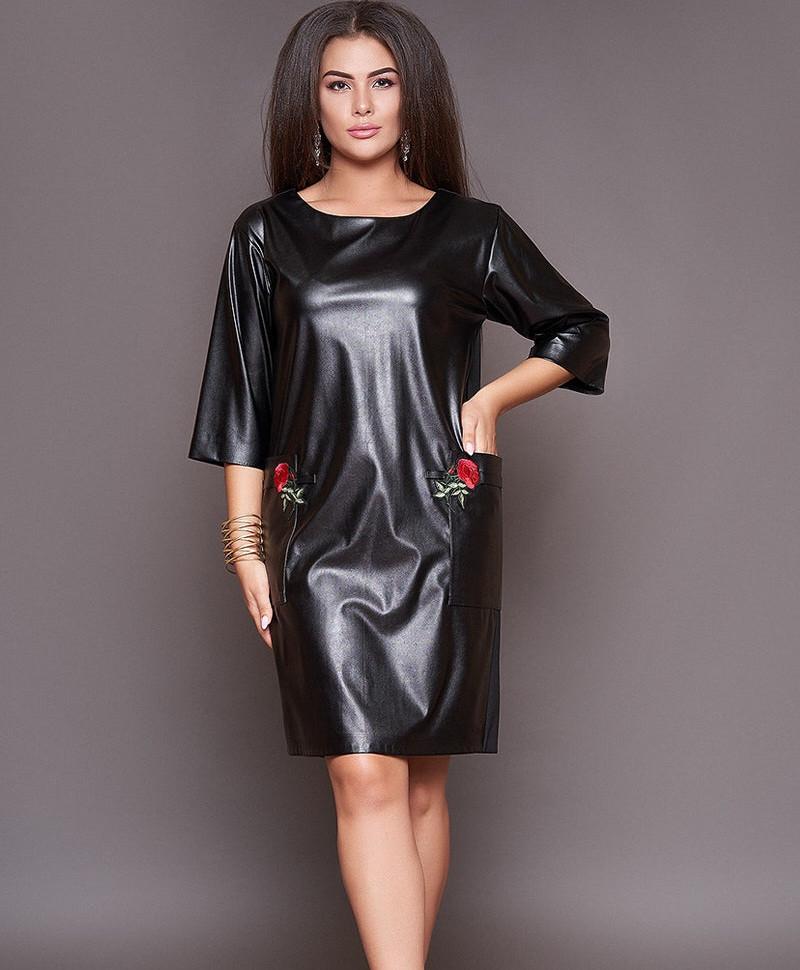 Платье кожа+дайвинг, сзади молния 48-62р