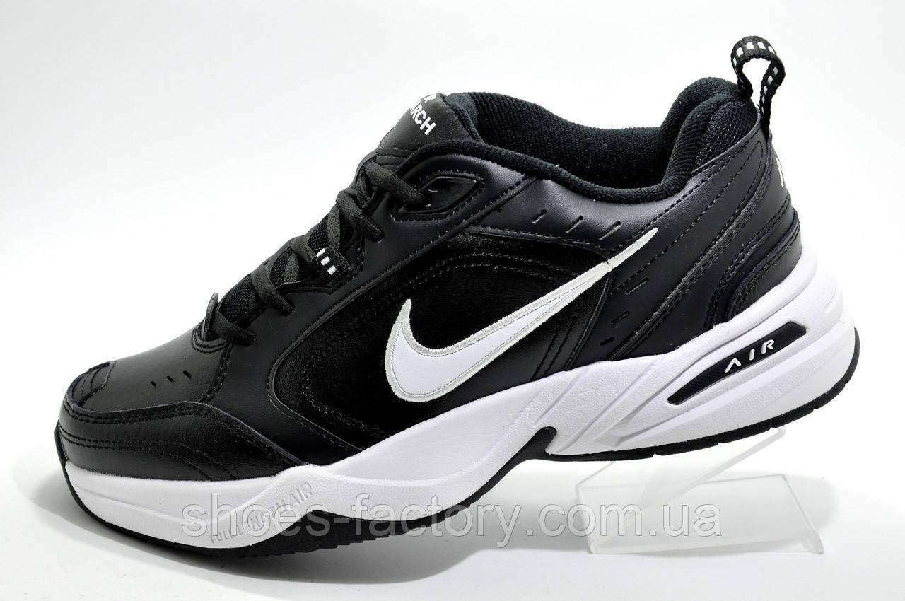 Мужские кроссовки в стиле Nike Air Monarch IV, Черные с белым (Кожа)