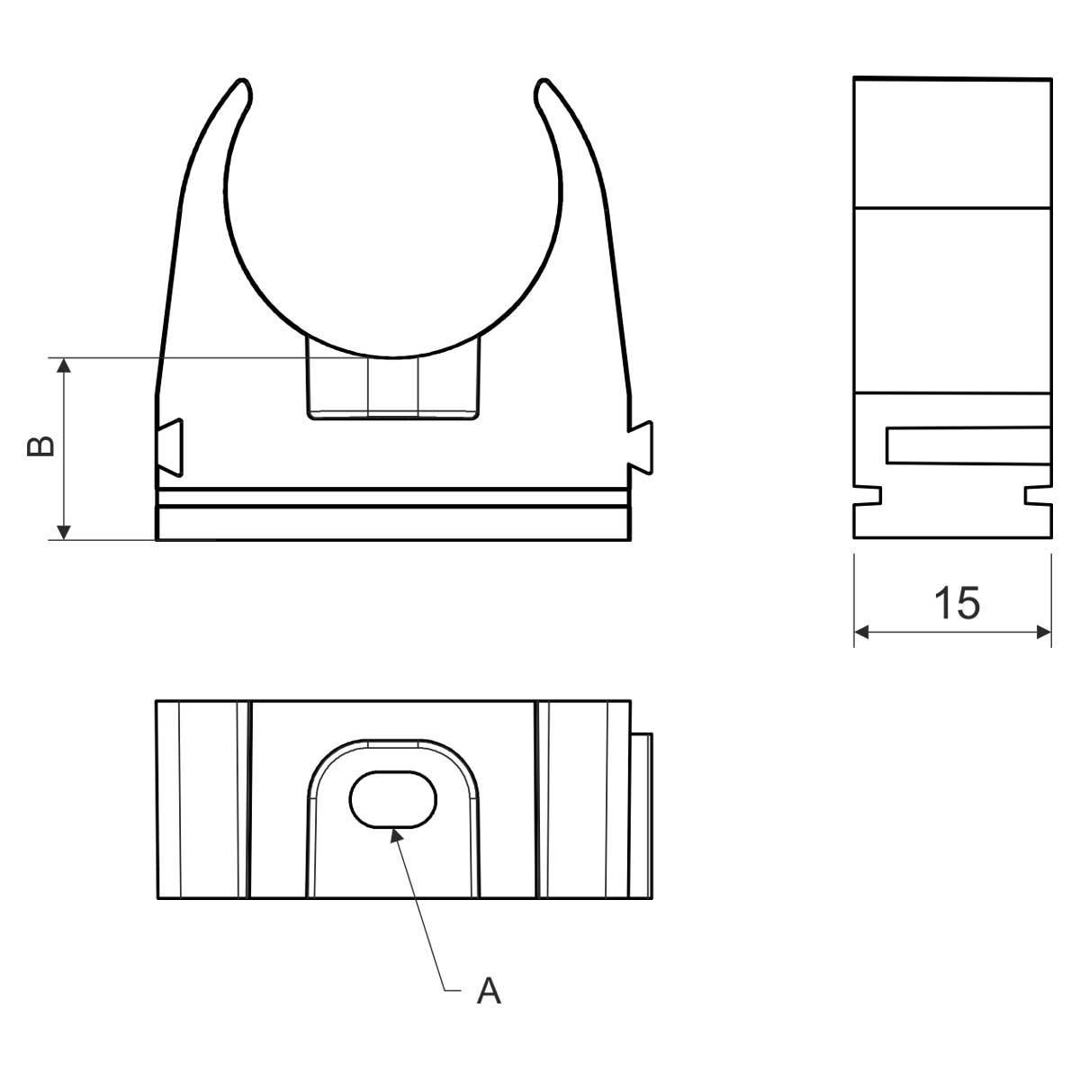 Кріплення труби 50 мм; Ø50мм; ПВХ; t застосування -25+60 °с; світло-сіре;