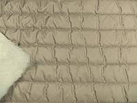 Плащевка Лайт Мэмори стеганная 100 (т. бежевый) Полоса (арт. 02165) отрез 0,7 м