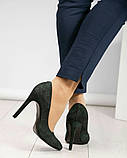 Туфли женские замша темно-зеленые, фото 3