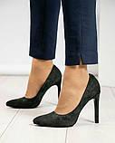 Туфли женские замша темно-зеленые, фото 4