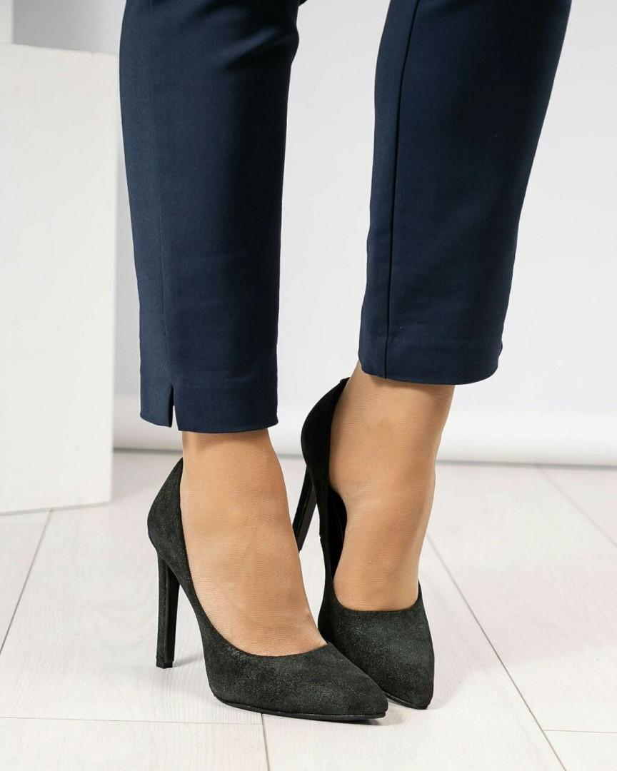 Туфли женские замша темно-зеленые