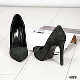 Туфли женские замша темно-зеленые, фото 5