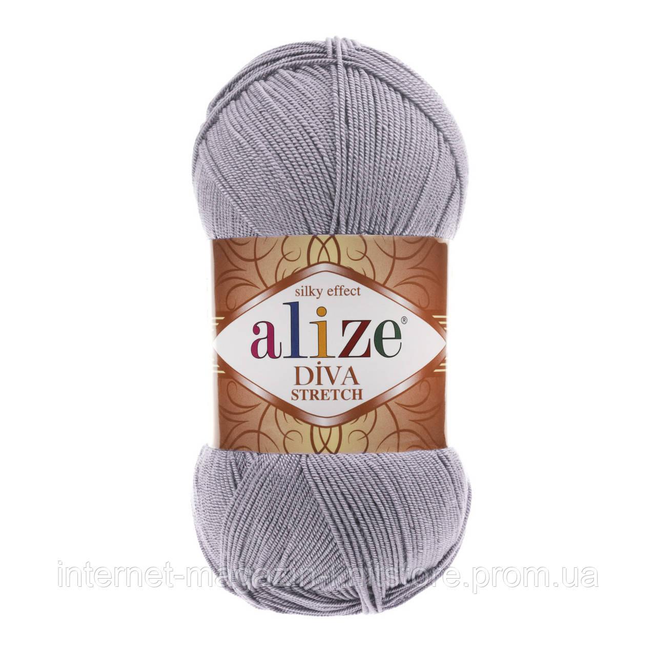 Пряжа Alize Diva Stretch Серый